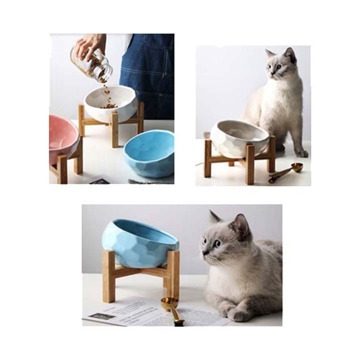 Hermoso bowl en cerámica que brindará a tu gato la comodidad de comer con algo de altura y en un recipiente seguro